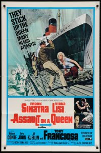 3t054 ASSAULT ON A QUEEN 1sh 1966 art of Frank Sinatra & sexy Virna Lisi on submarine deck!