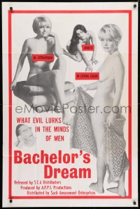 3t056 BACHELOR'S DREAM 1sh 1967 these sexy babes are the evil that lurks in the minds of men!