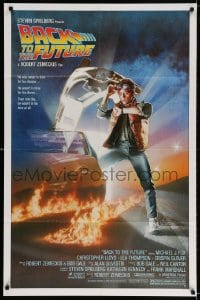 3t059 BACK TO THE FUTURE studio style 1sh 1985 art of Michael J. Fox & Delorean by Drew Struzan!