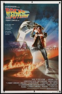 3t058 BACK TO THE FUTURE NSS style 1sh 1985 art of Michael J. Fox & Delorean by Drew Struzan!
