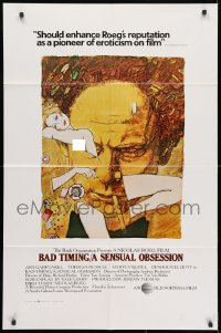 3t062 BAD TIMING 1sh 1980 Nicholas Roeg, cool art of Art Garfunkel & sexy Theresa Russell!