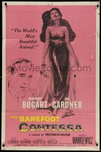 3t064 BAREFOOT CONTESSA 1sh 1954 Humphrey Bogart & art of sexy full-length Ava Gardner!