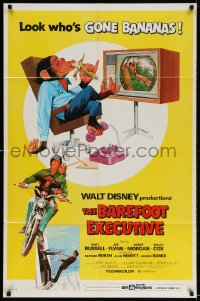 3t065 BAREFOOT EXECUTIVE 1sh 1971 Disney, art of Kurt Russell & wacky chimp gone bananas!