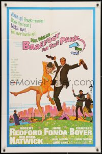3t066 BAREFOOT IN THE PARK 1sh 1967 McGinnis art of Robert Redford & Jane Fonda in Central Park!