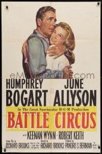 3t068 BATTLE CIRCUS 1sh 1953 great artwork of Humphrey Bogart hugging June Allyson!