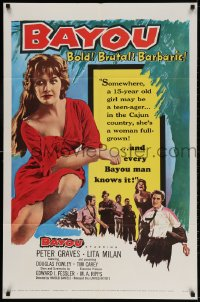 3t070 BAYOU 1sh 1957 Louisiana Cajun sex, Peter Graves, Bold! Brutal! Barbaric!