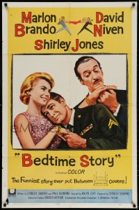 3t072 BEDTIME STORY 1sh 1964 close up of Marlon Brando in uniform, David Niven & Shirley Jones!