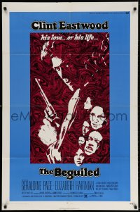 3t073 BEGUILED 1sh 1971 cool psychedelic art of Clint Eastwood & Geraldine Page, Don Siegel