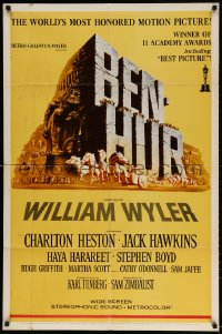 3t078 BEN-HUR 1sh R1969 Charlton Heston, William Wyler classic religious epic, chariot art!