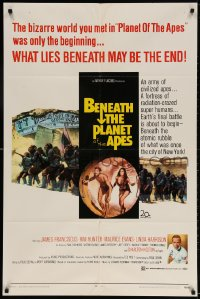 3t077 BENEATH THE PLANET OF THE APES 1sh 1970 sequel, what lies beneath may be the end!