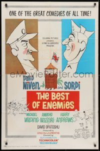 3t079 BEST OF ENEMIES 1sh 1962 David Niven, Alberto Sordi, Guy Hamilton, cool cartoon art!