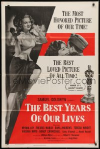 3t080 BEST YEARS OF OUR LIVES 1sh R1954 Dana Andrews hugs Teresa Wright, sexy Virginia Mayo!
