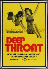 3t207 DEEP THROAT 28x41 1sh 1972 how far does Linda Lovelace have to go to untangle her tingle!