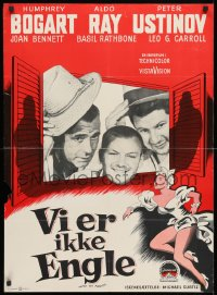 3y043 WE'RE NO ANGELS Danish 1960 Humphrey Bogart, Aldo Ray & Peter Ustinov tipping hats, rare!