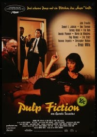 3y080 PULP FICTION German 1994 Quentin Tarantino, sexy Uma Thurman smoking in bed plus top cast!