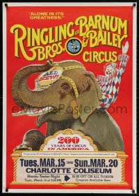 3z060 RINGLING BROS & BARNUM & BAILEY CIRCUS 28x40 circus poster 1975 wonderful art of clown riding elephant!