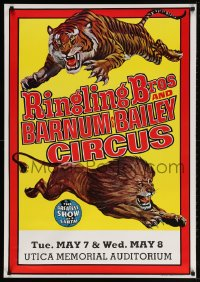 3z059 RINGLING BROS & BARNUM & BAILEY CIRCUS 28x40 circus poster 1973 art of a lion and a tiger!
