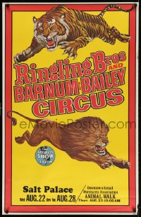 3z058 RINGLING BROS & BARNUM & BAILEY CIRCUS 28x43 circus poster 1969 art of a lion and a tiger!