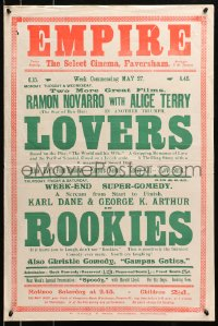 3z050 LOVERS/ROOKIES English double crown 1927 Ramon Novarro, Alice Terry, George K. Arthur, Karl Dane!