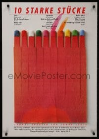 3z135 10 STARKE STUCKE 24x33 German stage poster 1981 Matthies art design of burning matches!