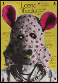 3z140 DAS JUGENDTHEATER 24x33 German stage poster 1971 really wacky image of person w/ mouse mask!