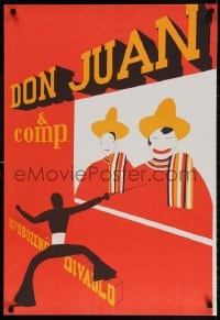 3z144 DON JUAN & COMP. 22x33 Czech stage poster 1970 completely different art by Frantisek Zelenk!