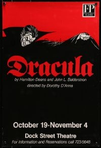 3z145 DRACULA 16x24 stage poster 1980s great art of the classic vampire with his huge cape!