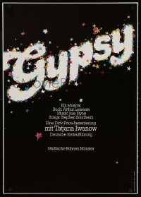 3z149 GYPSY 24x33 German stage poster 1979 Sondheim, title art by Gunter Schmidt, German premiere!