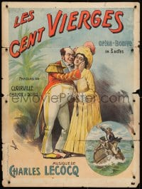 3z155 LES CENT VIERGES 24x32 French stage poster 1910s man hugging a disinterested woman by Faria!