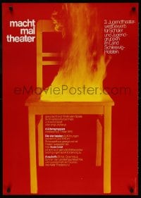 3z158 MACHT MAL THEATER 24x33 German stage poster 1976 art of a burning chair by Holger Matthies!