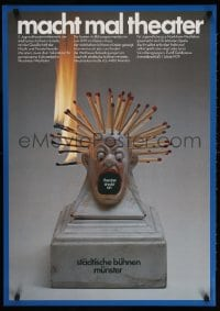 3z160 MACHT MAL THEATER 24x33 German stage poster 1979 little statue of guy w/burning match hair!