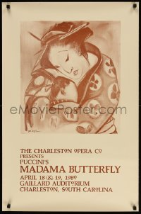3z163 MADAMA BUTTERFLY 23x35 stage poster 1980 great close-up art by John Doyle!