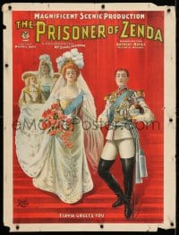 3z178 PRISONER OF ZENDA 21x28 stage poster 1895 coronation art, Daniel Frohman producer!