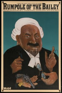 3z129 RUMPOLE OF THE BAILEY tv poster 1981 Chwast artwork of Leo McKern in the title role!