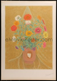 3z044 UNKNOWN ART PRINT signed artist's proof 21x29 art print 1980s cool art of flowers, help!