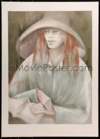 3z046 UNKNOWN ART PRINT signed artist's proof 21x30 art print 1980s woman wearing white hat!