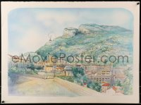 3z042 UNKNOWN ART PRINT signed 22x30 art print 1986 art of Monaco, please help identify artist!