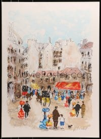3z048 URBAIN HUCHET signed 21x30 art print 1980s wonderful and colorful street art, Paris Scene!