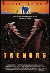 3z954 TREMORS 1sh 1990 Kevin Bacon, Fred Ward, great sci-fi horror image of monster worm!