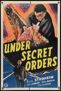 3z963 UNDER SECRET ORDERS 1sh 1943 Erich von Stroheim, gripping expose of a sinister spy ring!