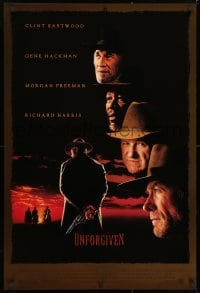 3z965 UNFORGIVEN DS 1sh 1992 gunslinger Clint Eastwood, Gene Hackman, Morgan Freeman, Harris!