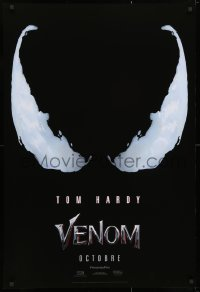 3z967 VENOM int'l French language teaser DS 1sh 2018 Tom Hardy in the title role, eyes logo!