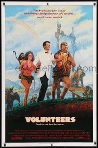 3z970 VOLUNTEERS 1sh 1985 cool artwork of Tom Hanks, John Candy, Rita Wilson, Peace Corps!