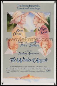 3z977 WHALES OF AUGUST 1sh 1987 c/u of elderly Bette Davis & Lillian Gish by Philip Castle!