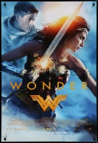 3z983 WONDER WOMAN advance DS 1sh 2017 sexiest Gal Gadot in title role/Diana Prince, Chris Pine