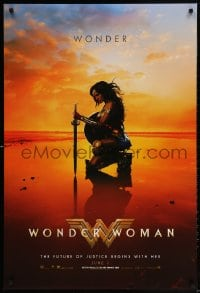 3z984 WONDER WOMAN teaser DS 1sh 2017 sexiest Gal Gadot in title role/Diana Prince kneeling, June 2