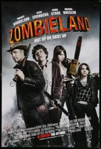 3z999 ZOMBIELAND advance 1sh 2009 Harrelson, Eisenberg, Stone, nut up or shut up, rated!