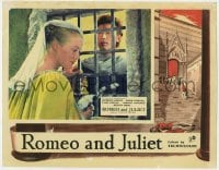 4a784 ROMEO & JULIET English LC 1955 c/u of Laurence Harvey & Susan Shentall at window, Shakespeare