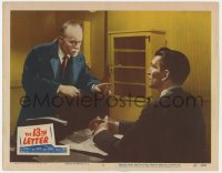 4a189 13th LETTER LC #2 1951 Otto Preminger, Michael Rennie at desk talking to Charles Boyer!