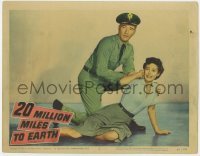 4a190 20 MILLION MILES TO EARTH LC #5 1957 cop William Hopper & Joan Taylor terrified of monster!